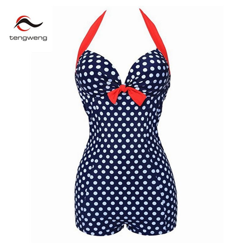 2017 Push Up One Piece Swimsuit Brazilian Bikini Set Sexy Vintage Retro Dots Plus Size Swimwear Women Bikini Bathing Suit Shorts 2017 new bikinis women swimsuit retro push up bikini set vintage plus size swimwear brazilian bathing suit beach wear swim 3xl