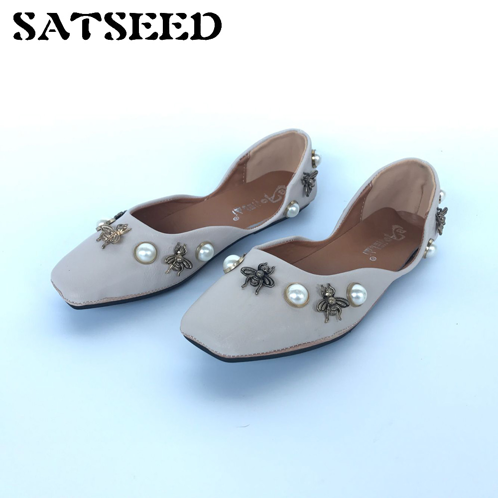 Fashion 2018 Women Flat Shoes Spring Autumn Square Toe Bee Foot Leisure Ballet Flats Metal Shallow Mouth Shoes Low Sweet Shoes spring autumn solid metal decoration flats shoes fashion women flock pointed toe buckle strap ballet flats size 35 40 k257