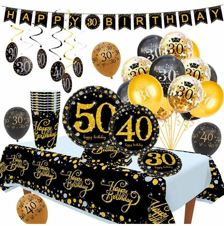 Huiran 15pcs 10pcs Birthday Balloon 30 40 50 Birthday Party Decoration 30th 40th 50th Birthday Decor Birthday Anniversary