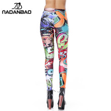 New Design Leggins Fashion Elastic Graffiti Spray Digital Leggins Printed Women Leggings Women Pants