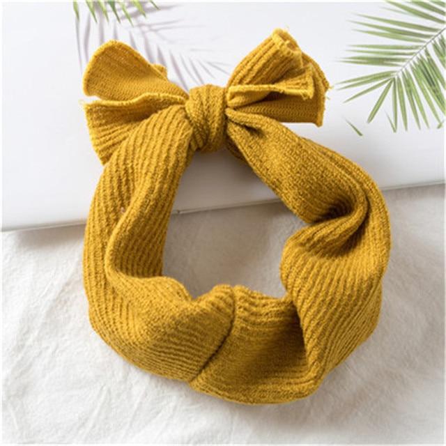 1 PC Winter Warm Ear Warmer Headwrap Xmas Girls' Crochet Headband Knitted Bow Hairband Hair Band Accessories 2