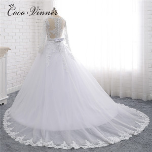Image 3 - Boat Neck Beaded Sashes Vintage Wedding Dress 2020 Embroidery Appliques Pearls Crystal Beads Ball Gown Wedding Dresses W0007
