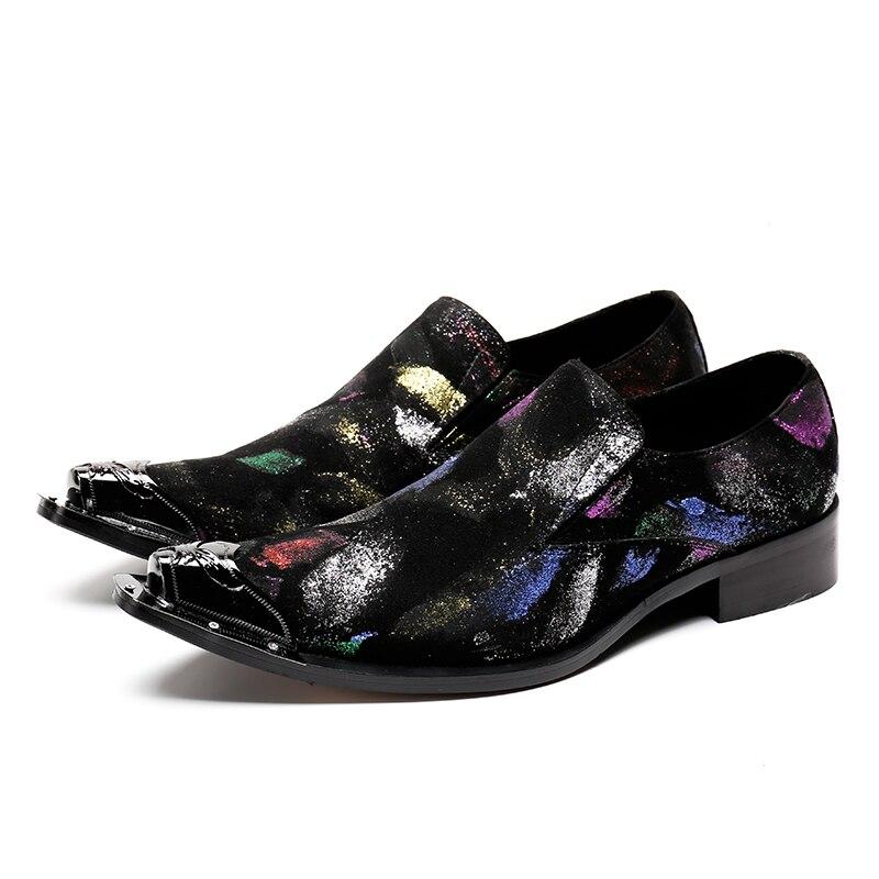 2019 ใหม่ Handmade Pointed Toe โลหะลูกไม้ Spikes Slip บนรองเท้า Evenig งานแต่งงานรองเท้า-ใน รองเท้าบูทแบบเบสิก จาก รองเท้า บน   1