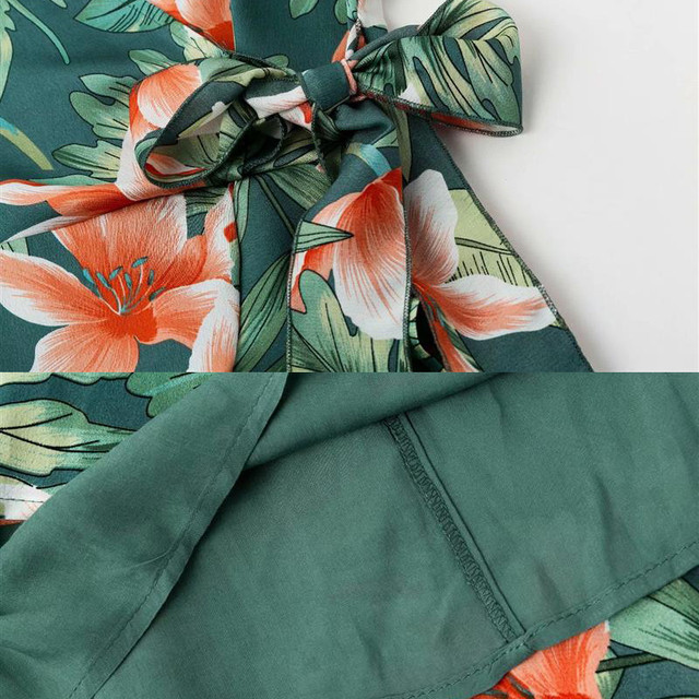 Floral Short Sleeve Chiffon Ruffle Dress