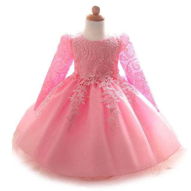 2020 bebek kız elbise uzun kollu dantel elbiseler doğum günü partisi yeni doğan bebek kız giyim beyaz pembe elbiseler vestido de bebe