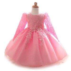Image 1 - 2020 платье для маленьких девочек кружевные платья с длинными рукавами Одежда для новорожденных девочек на день рождения Белые и розовые платья vestido de bebe