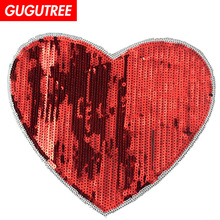 GUGUTREE embroidery Sequins big love heart patches badges applique for clothing XC-420