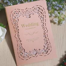 30pcs New Hollow Flower Laser Cut Wedding Event Invitation Card Exquisite Pink Paper Invitations