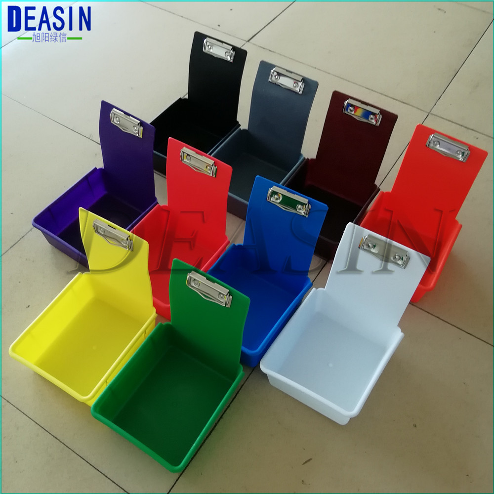 10 Pcs/lot  Multicolor Dental Lab Tools Dental Neaten Case Colorful Dental Work Pans With Clip Holder