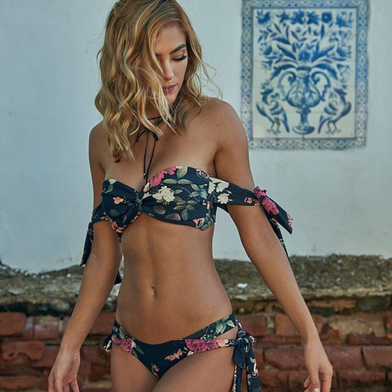 Sexy Thong Swimwear Women Strapless Padded Bikini 2017 New Floral Printed Swimsuit Bandeau Bikini Set Biquini Beach Bathing Suit winshiden women sexy bikini set vintage swimwear floral biquini flower printed swimsuit bathing suit swimming cloth 1492