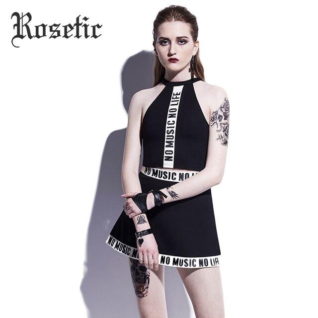 Rosetic Tank traje de falda Goth moda vestido Tops mini falda mujeres  Trajes letra preppy calle 545e1dfb8f5a
