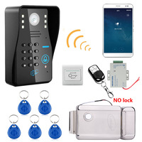 720P Wireless WIFI RFID Password Video Door Phone Doorbell Intercom System Night Vision+Electronic Door Lock+Waterproof Access