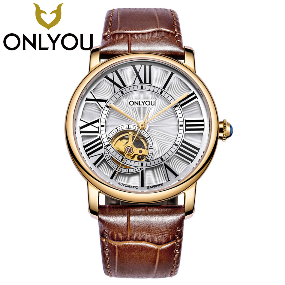 ONLYOU Lovers Watches Luxury Business Men Women Automatic Mechanical Watch Waterproof Fashion Leather Band Wholesale new snake table wholesale fashion jewelry for men and women present binary watch for waterproof led lovers steel band watch