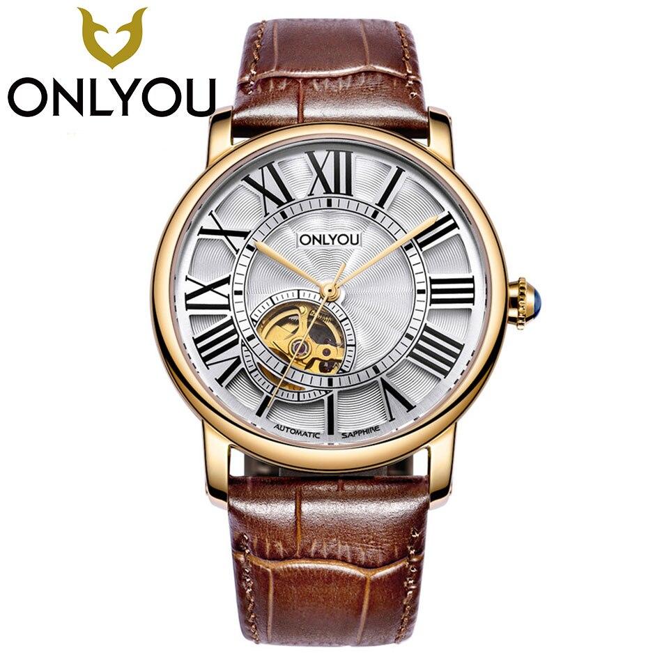 Onlyou любителей Часы Роскошные Бизнес Для мужчин Для женщин автоматические механические часы Водонепроницаемый Мода кожаный ремешок оптова
