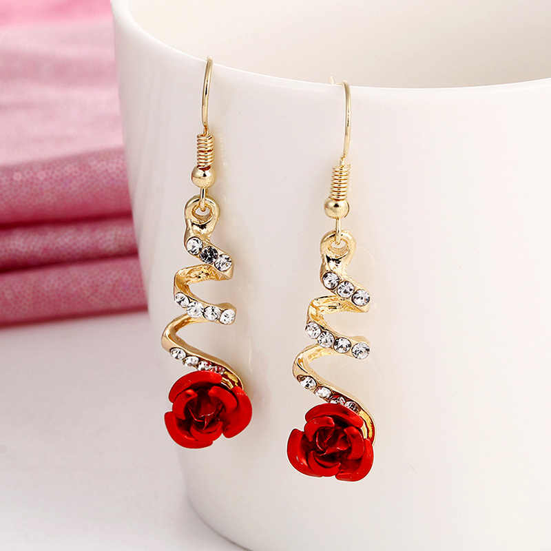 2019 mode Schmuck Ethnische Red Rose Ohrringe Big Strass Ohrringe Vintage Für Frauen Rose Gold Spirale Baumeln Ohrring
