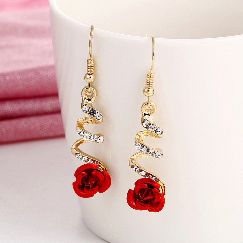 2019 Fashion Jewelry Ethnic Red Rose Drop Earrings Big Rhinestone Earrings Vintage For Women Rose Gold Spiral Dangle Earring