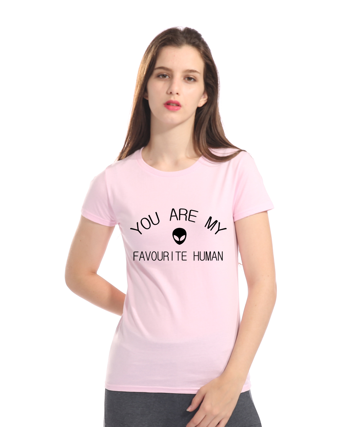 YOU ARE MY FAVOURITE HUMAN Alien Print T-shirts for women 2018 summer brand clothing various colours available female T-shirt