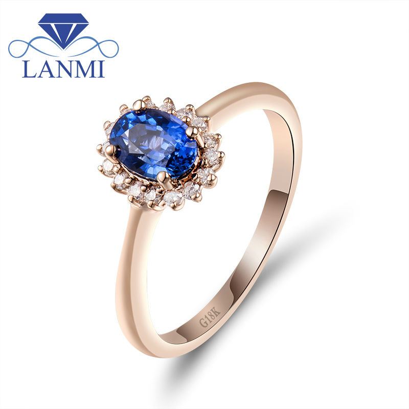 Oval Genuine Blue Sapphire Wedding Band Ring Diamond In Solid 18Kt Rose Gold Natural Sapphire Ring Fine Diamond Jewelry WU220 dominoes 1 blue diamond ne