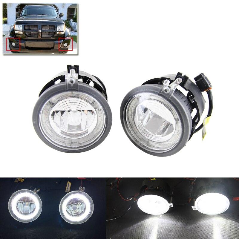 New E4 CE Direct Fit For Chrysler Pacifica Sebring For Dodge Averger Caliber Charger Led Front Fog Light W/ White Guide Rings