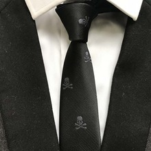 New Arrival 5cm Fashion Narrow Ties HOT Men Casual Party Necktie Black with Small White Skulls