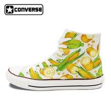 Men Women Converse Chuck Taylor Skateboarding Shoes Hand Painted Design Custom Corn High Top Canvas Sneakers