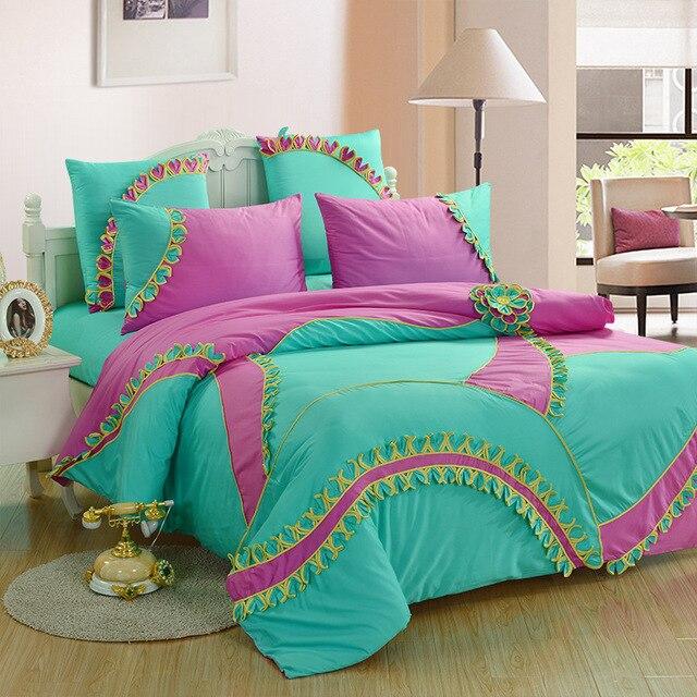 Merveilleux Luxury 6PCS Bedding Set Queen Bed Set 3D Handmade Trimmed Flower Comforter  Sets Cotton 60S Tribute