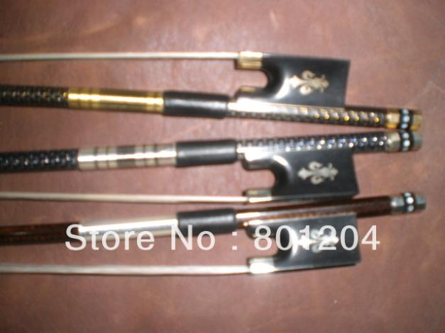 New 3pcs of beautiful Violin carbon fiber bow(Gold, silver and coffee color), ebony frog 4/4 violin bow 4 4 high grade brazil wood ebony frog colored shell snake skin violino bow fiddle violin parts accessories bow