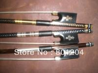 New 3pcs of beautiful Violin carbon fiber bow(Gold, silver and coffee color), ebony frog 4/4