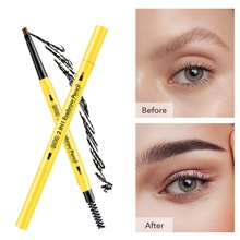 2019  Eyebrow Pencil With Eyebrow Brush Waterproof Smudge-proof Easy To Color Double-end Eyebrow Pen stylish leopard pattern double end waterproof smudge proof eyebrow pencil with brush