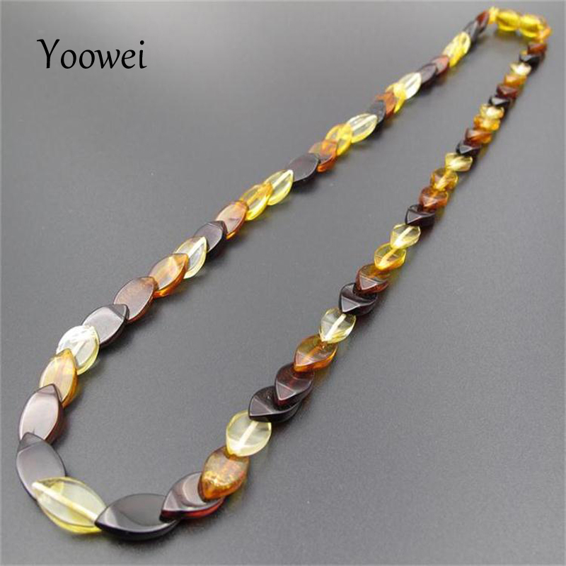 Yoowei 45cm Amber Necklace for Women Oval Original Beads New Year Gifts Healing Adults Natural Baltic