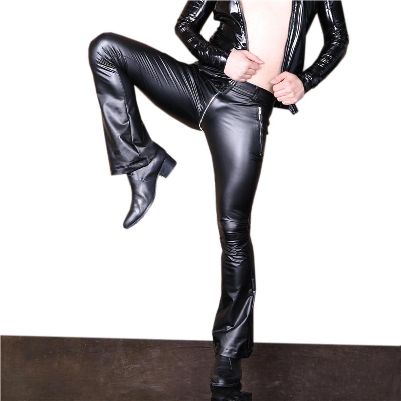 Trousers Flare Bewitching Tight Long-Pants Club Elastic Black Zip U-Crotch Men