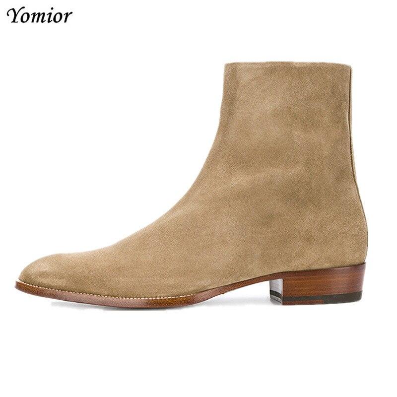 العلامة التجارية الفاخرة الرجال حذاء كاجوال زيبر حقيقية جلد البقر الذكور حذاء من الجلد الخريف الشتاء الأزياء وأشار اصبع القدم تشيلسي الأحذية-في أحذية تشيلسي من أحذية على  مجموعة 1