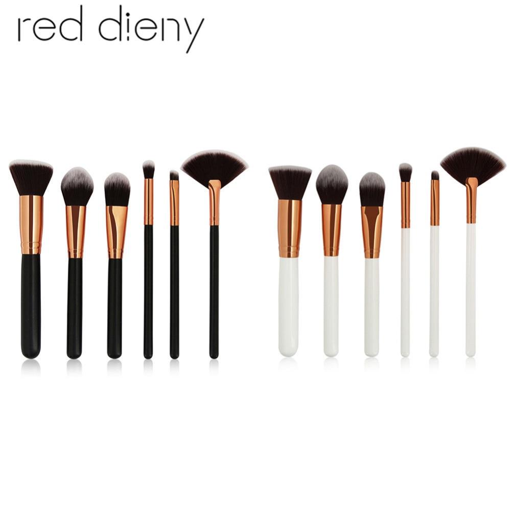 6PCS Face Makeup Brushes Set Tools Foundation Powder Blush Eyeshadow Eyebrow Concealer Contour Blend Cosmetic Makeup Brushes Kit