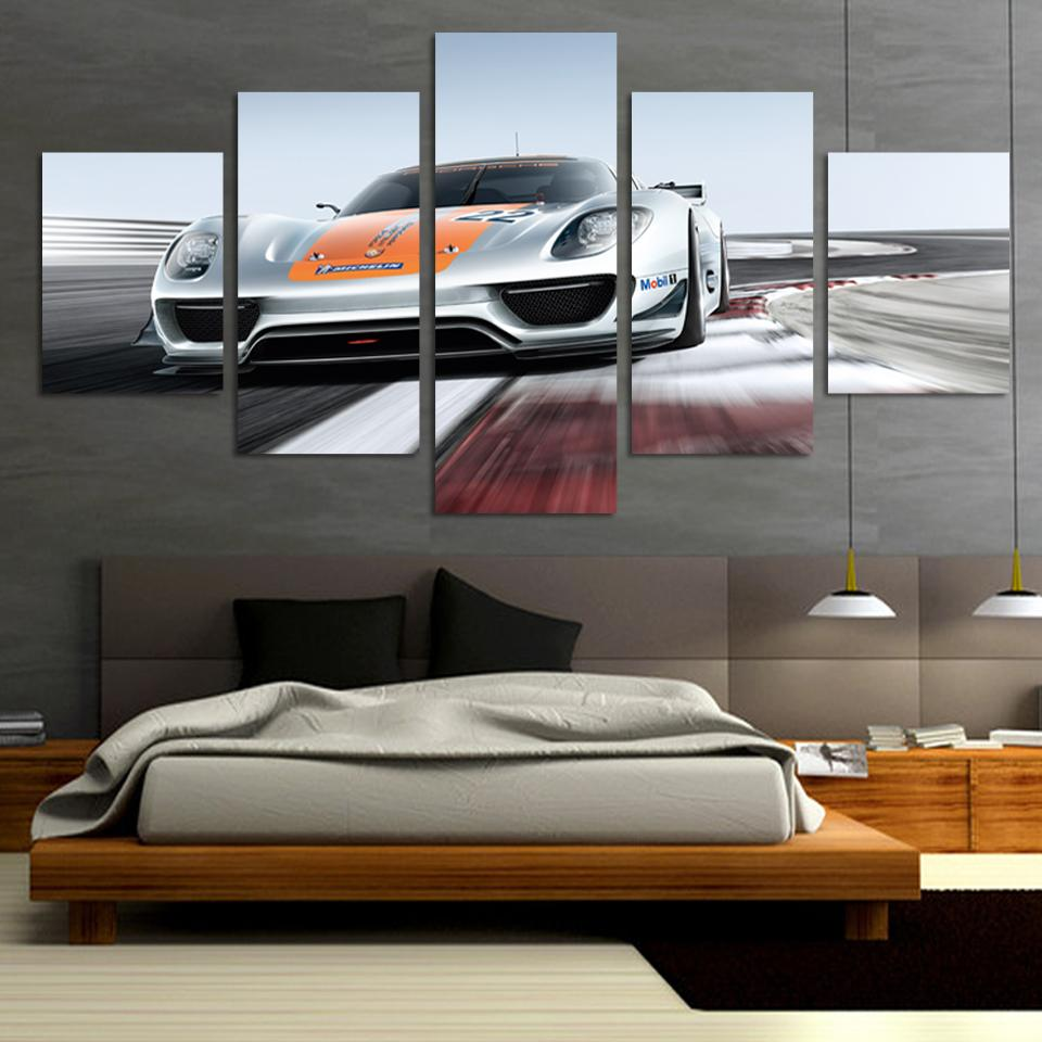 Hot Sell 5 panel grey Sports Car Large HD Decorative Art Print Painting On Canvas For Living Room Wall Paintings Pictures