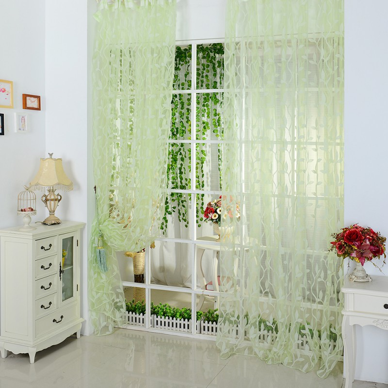 Fashion Curtain Leaf Tulle Voile Door Window Curtain Drape