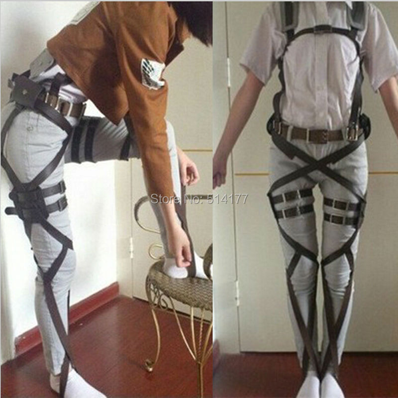 2016 New Attack On Titan Cosplay Shingeki No Kyojin Cosplay Recon Corps Harness Belts Hookshot Cosplay