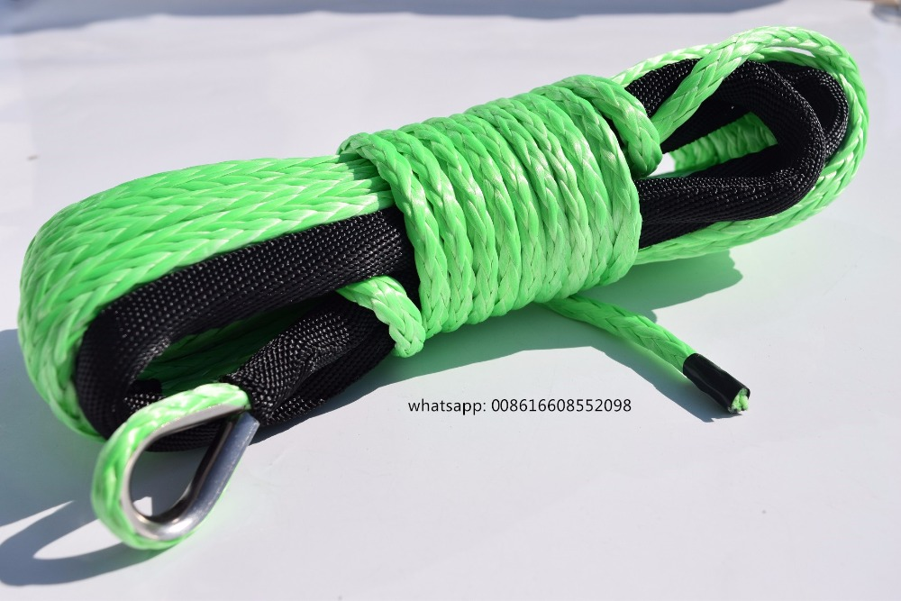 Free Shipping Green 6mm*15m Synthetic Winch Rope,ATV Winch Line,Recovery Replacement Winch Rope