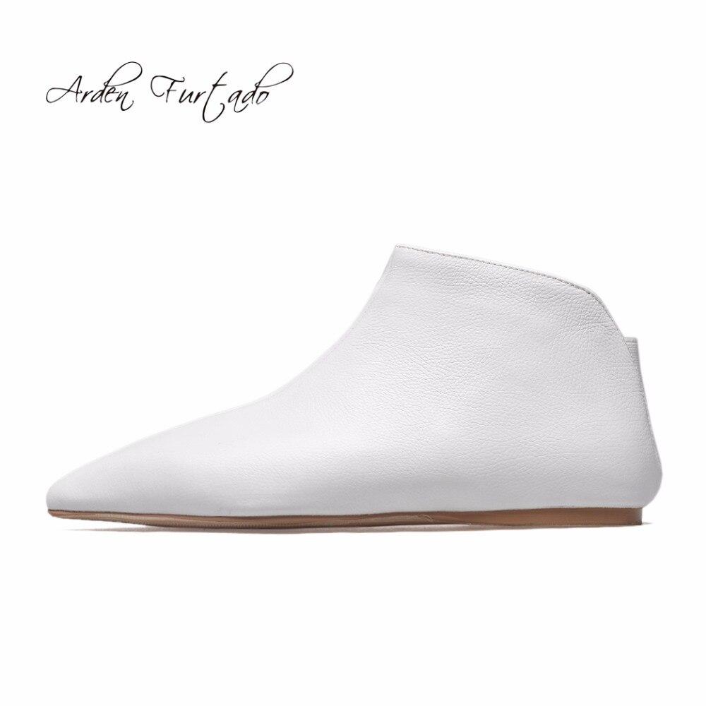 أردن Furtado 2019 الربيع والخريف جلد طبيعي الانزلاق على الأحذية البيضاء أوكسفورد الشقق أزياء حذاء من الجلد أحذية للمرأة 33  43-في أحذية الكاحل من أحذية على  مجموعة 1