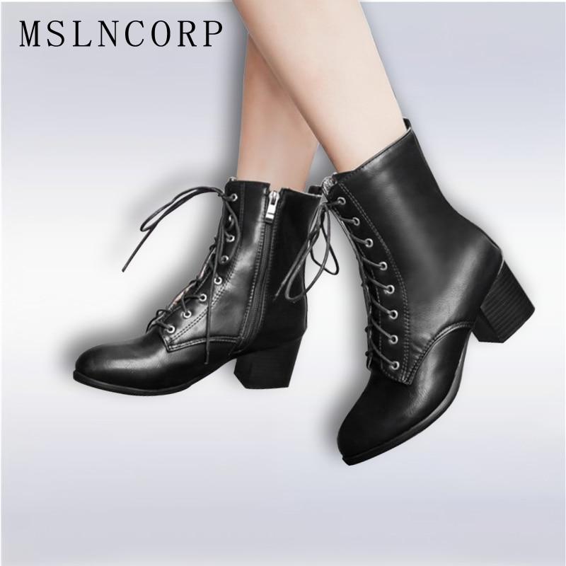 בתוספת גודל 34-45 סתיו חורף נשים מגפי עקבים גבוהים שרוכים גבירותיי Sapatos מרטין עור מגפי כיכר עקב שלג מגפי נעליים