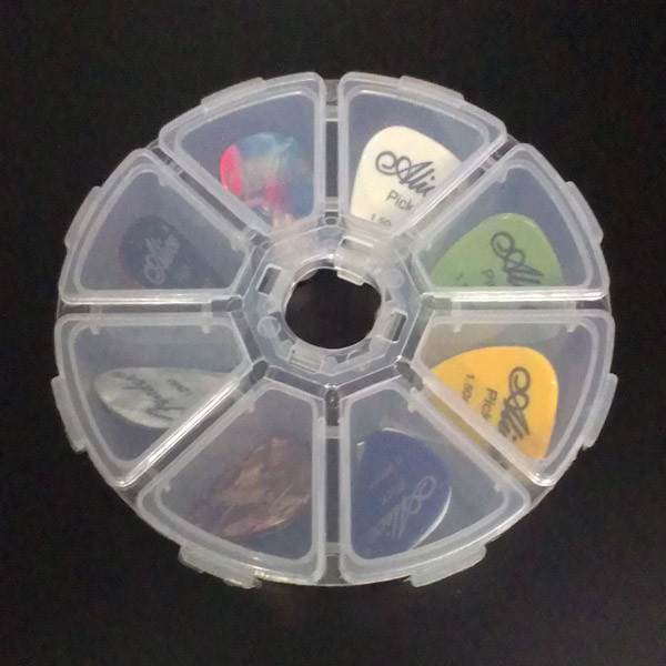 8 Grid Guitar Picks Box Circle Independently Open Close Clear Plastic Storage Box Keep Plectrum Guitar Accessories