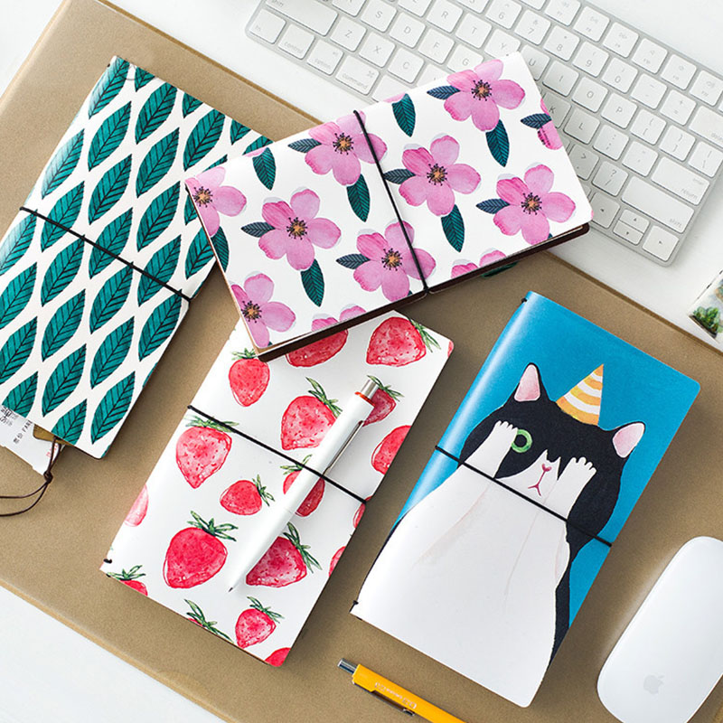 Cute PU Leather Notebook Spiral Personal Dairy Memos Planner Organizer Binding Notepad Travel Pad Journal School Gift Soft Books cute leather a7 memo pad mini paste message stickers smile laugh notebook personal daily planner organizer notes paper with box