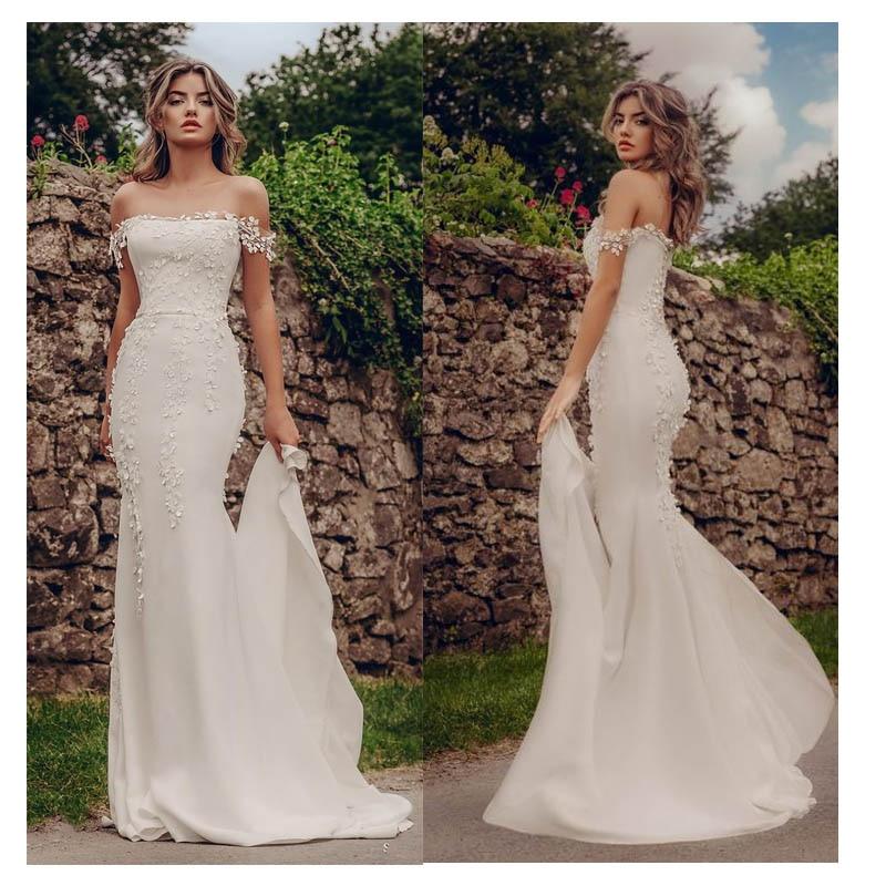 Mermaid Wedding Dresses 2019 Appliques Lace Beach Bride Dress Custom Made Sexy Fairy White Ivory Wedding Gown