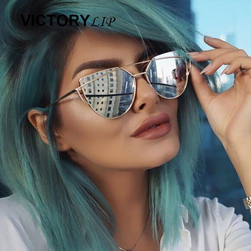 2018 Cat Eye Luxury Women Sunglasses Brand Design High Quality Flat Lens Vintage Shades Female Cateye Mirror Lady Sun Glasses