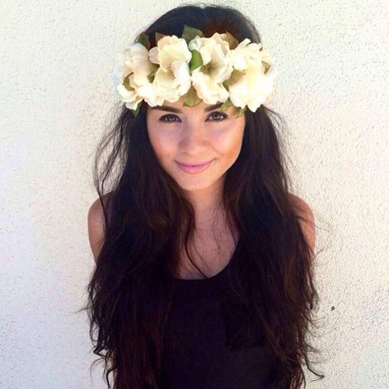 Plastic Wedding Bands >> 2016 New Women Party Wedding Big Flower Wreath Crown Headband Floral Garlands Hair band Bridal ...