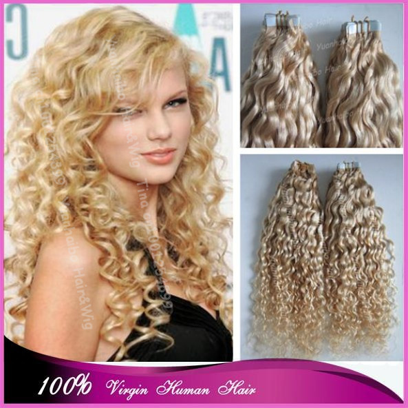 New Fashion 7a 613 Kinky Curly Virgin Peruvian Blonde Remy Hair