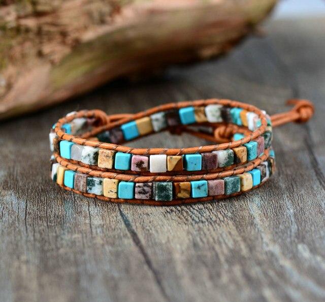 Us 7 06 10 Off Women Leather Bracelets High End Mix Natural Stones 2 Strands Wrap Vintage Weaving Bead Bracelet Dropshipping In