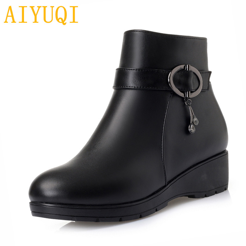 AIYUQI Women snow boots 2018 new genuine leather women booties, big size 35-43 wool warm mother boots women ,lady Winter shoes aiyuqi spring new genuine leather women shoes rhinestone breathable plus size 41 42 43 comfortable light mother shoes women