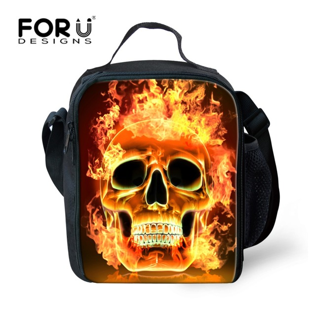 FORUDESIGNS Portable Insulated Lunch Bag Skull Thermal Food Picnic Lunch Bags for Men Kids Boys Lunch Box Bag Tote Bolsa Termica
