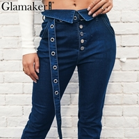 Glamaker Button sashes plus size jeans Women denim casual pants Sexy slim skinny jeans high waist trousers streetwear bottom new