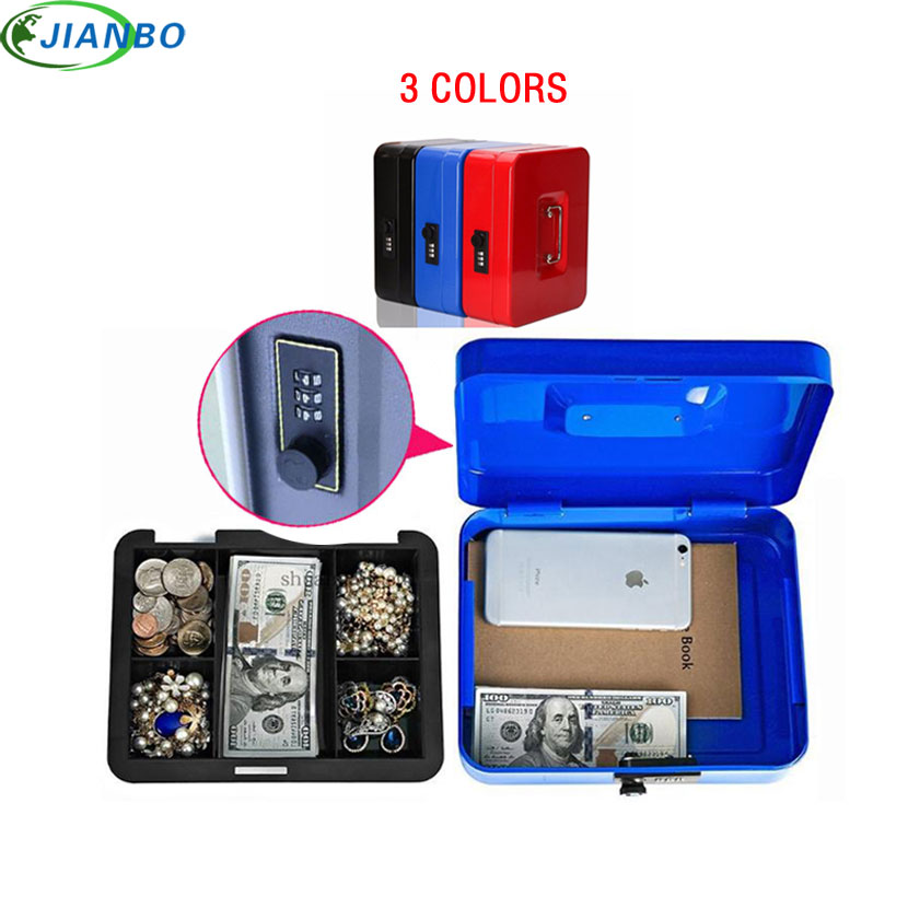 Portable Safe Box Money Jewelry Password Boxes Style For Home School Office With Compartment Tray Lockable Security Box Size M